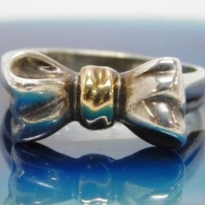 Tiffany & Co 925 18K Gold Bow Ring Size 6